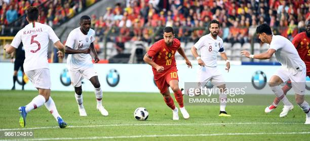 Belgium's forward Eden Hazard controls the ball during the friendly football match between Belgium and Portugal on June 2 2018 at the King Baudouin...