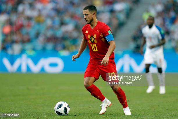 Belgium's forward Eden Hazard controls the ball during the Russia 2018 World Cup Group G football match between Belgium and Panama at the Fisht...