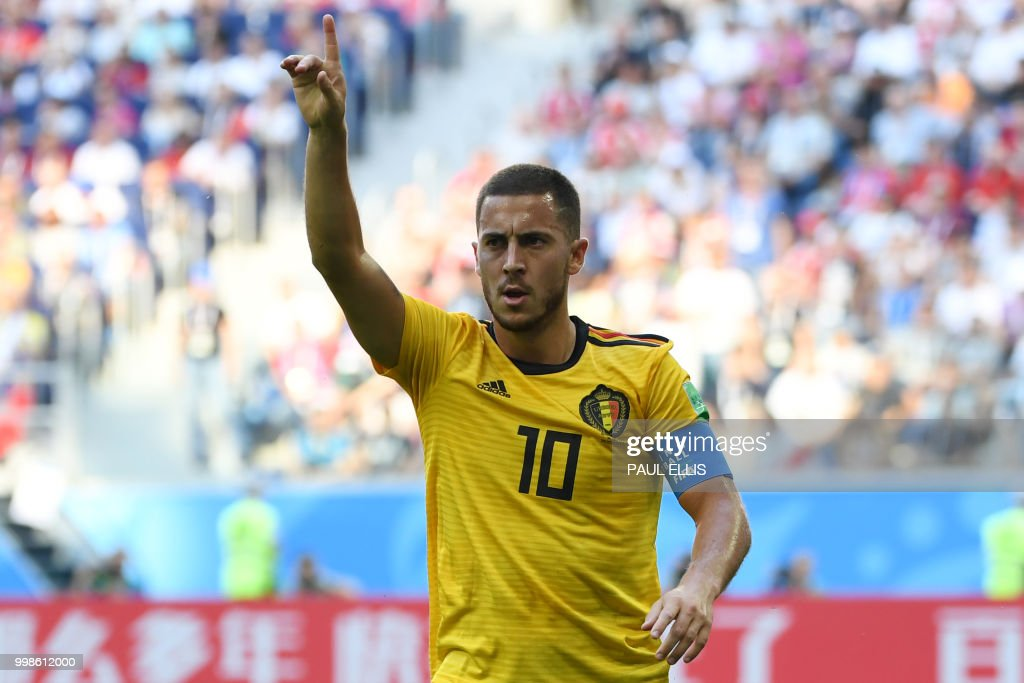 Belgium's forward Eden Hazard gestures during their Russia 2018 World Cup play-off for third place football match between Belgium and England at the Saint Petersburg Stadium in Saint Petersburg on July 14, 2018. (Photo by Paul ELLIS / AFP) / RESTRICTED