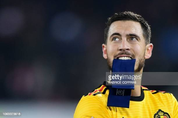 Belgium's forward Eden Hazard reacts at the end of the UEFA Nations League league A group 2 football match between Switzerland and Belgium at the...
