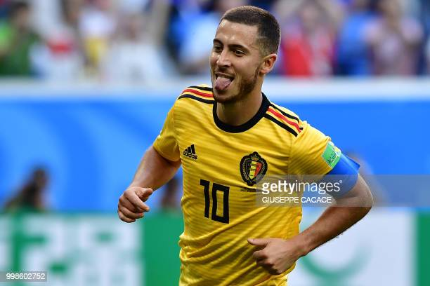 TOPSHOT Belgium's forward Eden Hazard sticks his tongue out as he celebrates after scoring their second goal during their Russia 2018 World Cup...