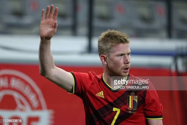 Belgium's forward Kevin De Bruyne gestures during the UEFA Nations League football match between Belgium and England, on November 15, 2020 at Den...