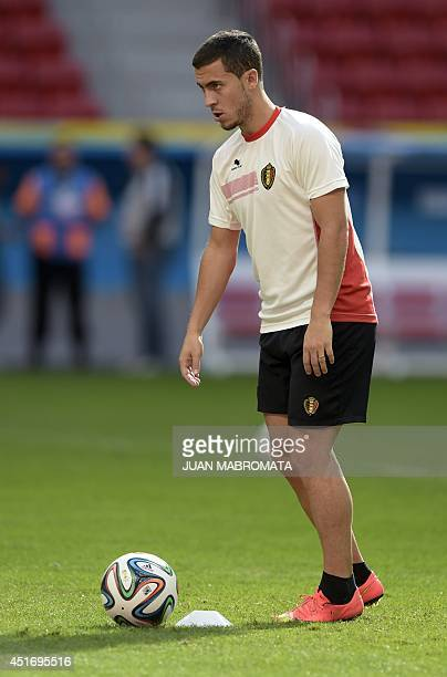 Belgium's forward Kevin Mirallas controls the ball during a team training session at Mane Garrincha National Stadium in Brasilila some 1160...