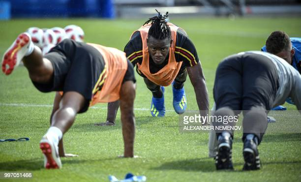Belgium's forward Michy Batshuayi attends a training session in Dedovsk outside Moscow on July 12 ahead of the 2018 World Cup playoff for third place...