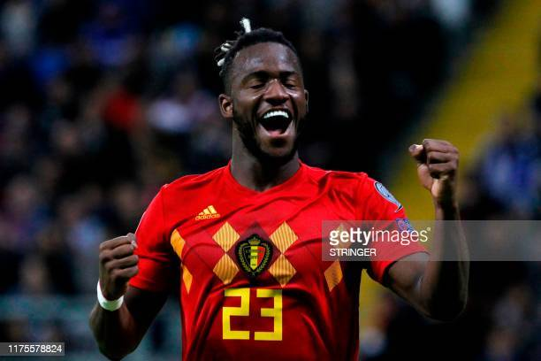 Belgium's forward Michy Batshuayi celebrates after scoring a goal during the Euro 2020 football qualification match between Kazakhstan and Belgium in...