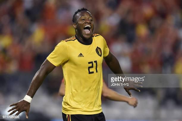 Belgium's forward Michy Batshuayi celebrates after scoring a goal during the international friendly football match between Belgium and Costa Rica at...
