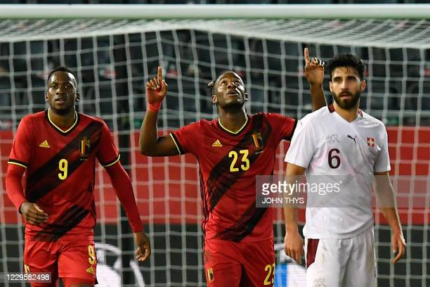 Belgium's forward Michy Batshuayi celebrates after scoring during the friendly football match between Belgium and Switzerland at the Den Dreef...