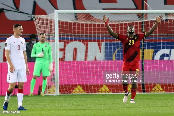 Belgium's forward Michy Batshuayi celebrates after scoring during the FIFA World Cup Qatar 2022 qualification Group E football match between Belgium...