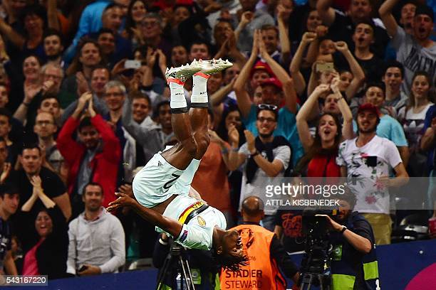 Belgium's forward Michy Batshuayi celebrates after scoring his team's second goal during the Euro 2016 round of 16 football match between Hungary and...