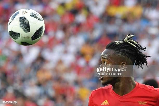 Belgium's forward Michy Batshuayi eyes the ball during the Russia 2018 World Cup Group G football match between England and Belgium at the...