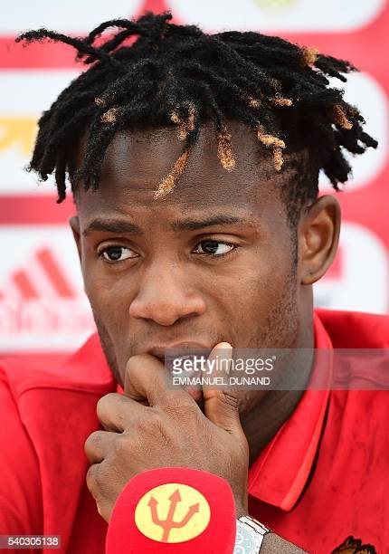 Belgium's forward Michy Batshuayi holds a press conference in Le Haillan on June 15 2016 during the Euro 2016 football tournament / AFP / EMMANUEL...