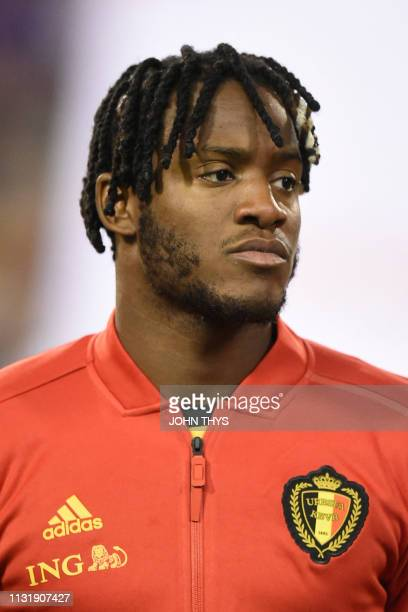 Belgium's forward Michy Batshuayi looks on at the start of the Euro 2020 football qualification match between Belgium and Russia at the Roi Baudouin...