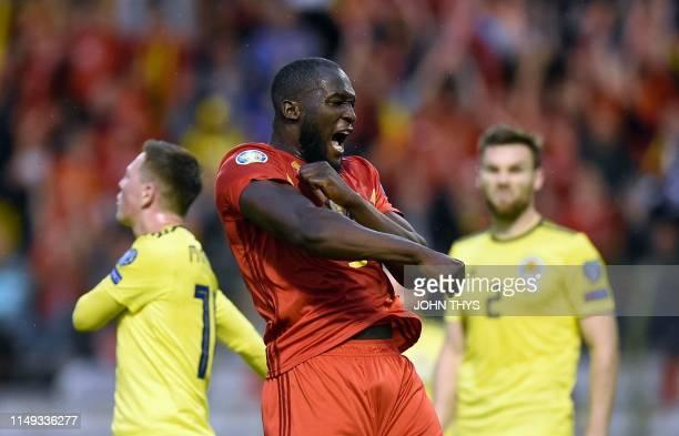 Belgium's forward Romelu Lukaku celebrates after scoring a goal during the UEFA Euro 2020 qualification football match between Belgium and Scotland...