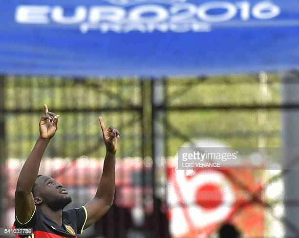 TOPSHOT Belgium's forward Romelu Lukaku celebrates after scoring a goal during the Euro 2016 group E football match between Belgium and Ireland at...