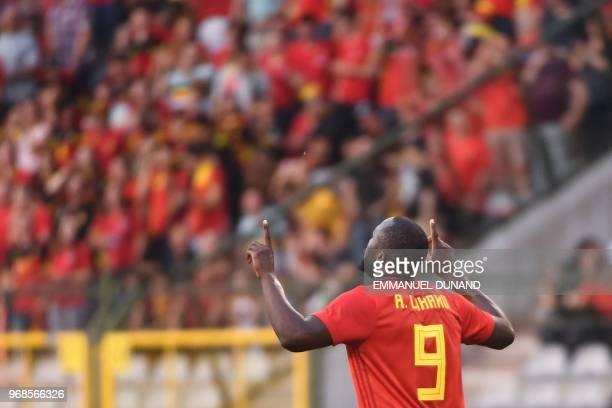 Belgium's forward Romelu Lukaku celebrates after scoring a goal during the international friendly football match between Belgium and Egypt at the...