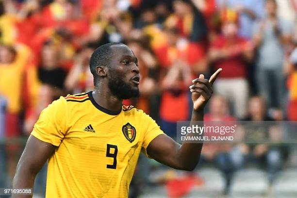 Belgium's forward Romelu Lukaku celebrates after scoring a goal during the international friendly football match between Belgium and Costa Rica at...