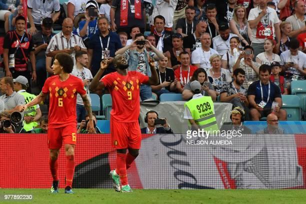 Belgium's forward Romelu Lukaku celebrates after scoring a goal during the Russia 2018 World Cup Group G football match between Belgium and Panama at...