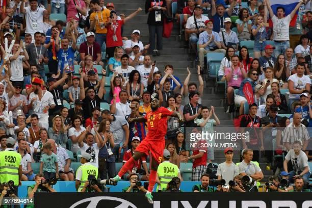 TOPSHOT Belgium's forward Romelu Lukaku celebrates after scoring a goal during the Russia 2018 World Cup Group G football match between Belgium and...