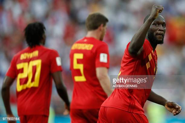 Belgium's forward Romelu Lukaku celebrates after scoring a goal during the Russia 2018 World Cup Group G football match between Belgium and Panama at...