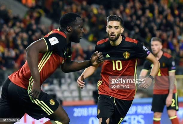Belgium's forward Romelu Lukaku celebrates after scoring during the FIFA World Cup 2018 qualification football match between Belgium and Greece at...
