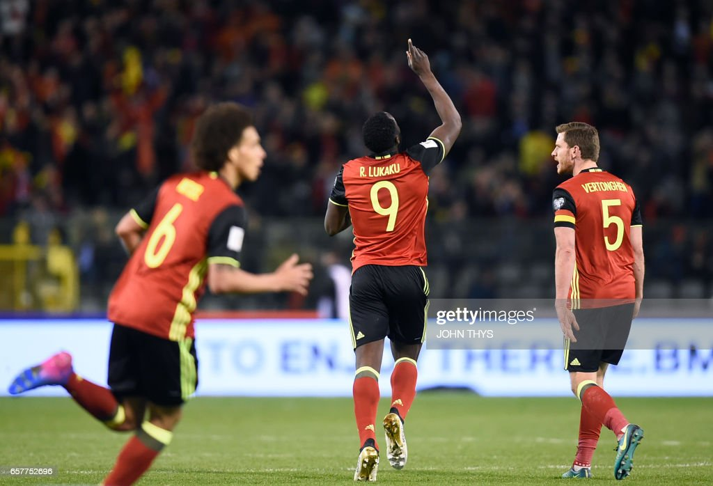 Belgium's forward Romelu Lukaku (C) celebrates after scoring during the FIFA World Cup 2018 qualification football match between Belgium and Greece, at the King Baudouin Stadium, on March 25, 2017 in Brussels. /