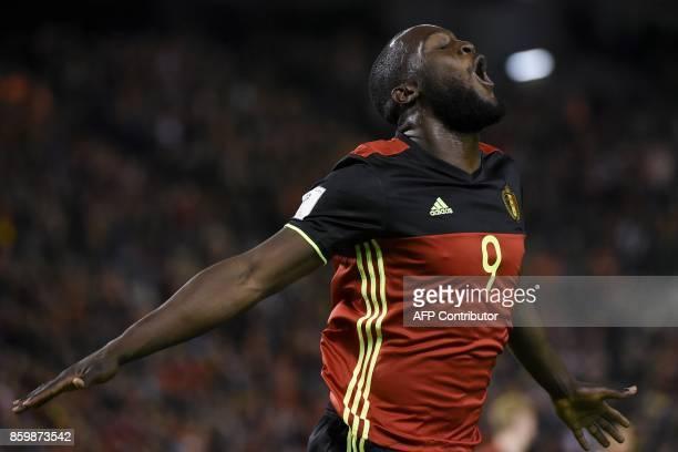 Belgium's forward Romelu Lukaku celebrates after scoring during the FIFA World Cup 2018 qualification football match between Belgium and Cyprus at...