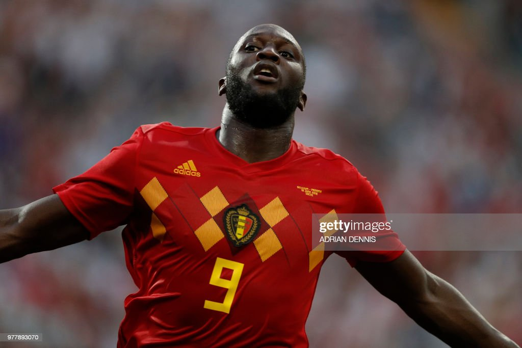 Belgium's forward Romelu Lukaku celebrates after scoring his team's third goal during the Russia 2018 World Cup Group G football match between Belgium and Panama at the Fisht Stadium in Sochi on June 18, 2018. (Photo by Adrian DENNIS / AFP) / RESTRICTED