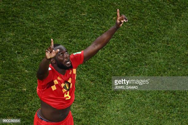 Belgium's forward Romelu Lukaku celebrates at the end of the Russia 2018 World Cup round of 16 football match between Belgium and Japan at the Rostov...