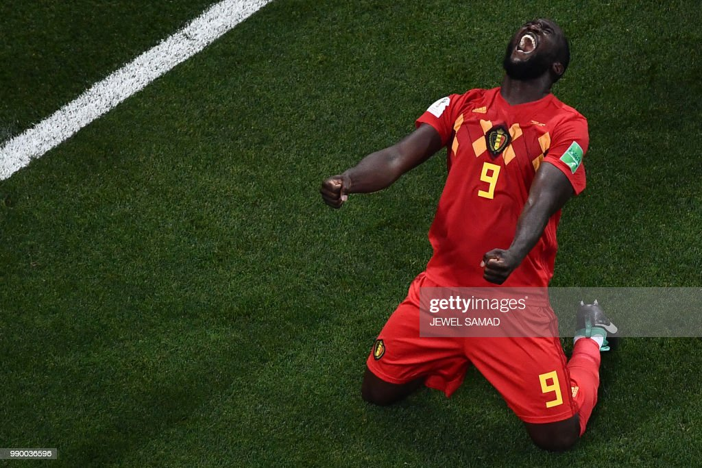 TOPSHOT - Belgium's forward Romelu Lukaku celebrates at the end of the Russia 2018 World Cup round of 16 football match between Belgium and Japan at the Rostov Arena in Rostov-On-Don on July 2, 2018. (Photo by Jewel SAMAD / AFP) / RESTRICTED