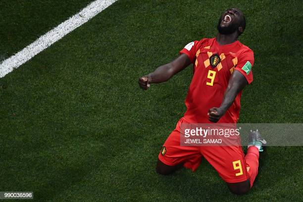 TOPSHOT Belgium's forward Romelu Lukaku celebrates at the end of the Russia 2018 World Cup round of 16 football match between Belgium and Japan at...