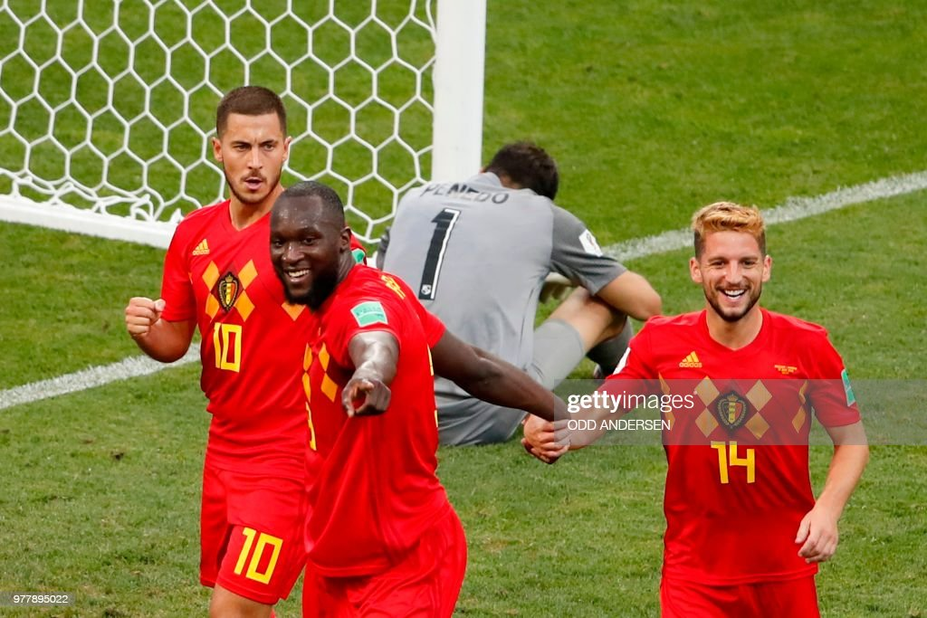 TOPSHOT - Belgium's forward Romelu Lukaku (2nd-L) celebrates his first goal, his team's second, with Belgium's forward Dries Mertens (R) and Belgium's forward Eden Hazard (L) during the Russia 2018 World Cup Group G football match between Belgium and Panama at the Fisht Stadium in Sochi on June 18, 2018. (Photo by Odd ANDERSEN / AFP) / RESTRICTED
