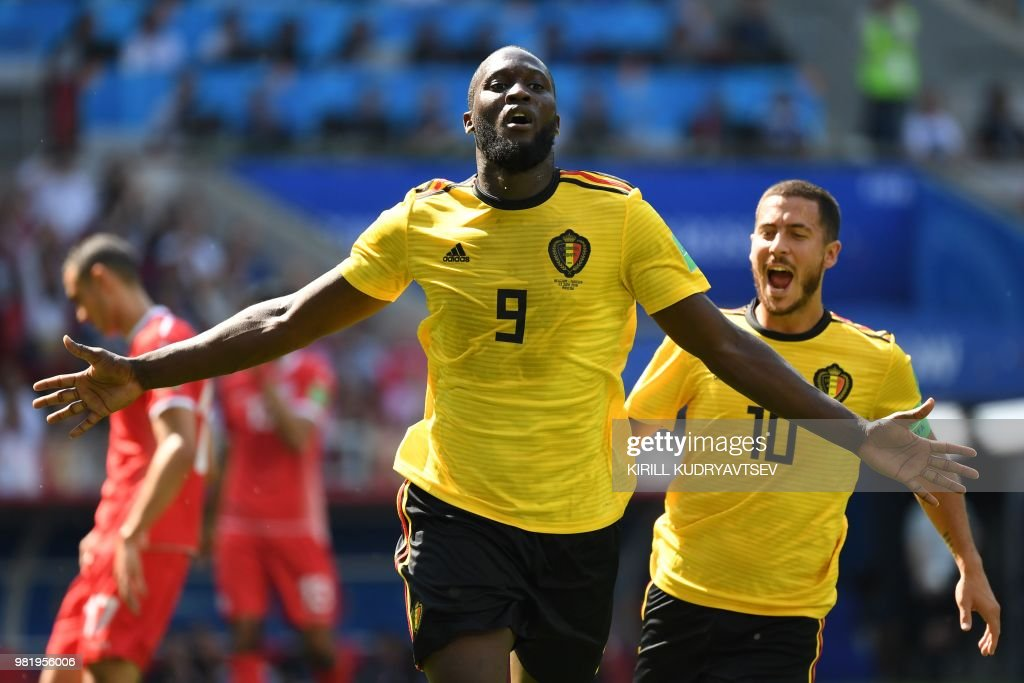 TOPSHOT - Belgium's forward Romelu Lukaku celebrates scoring his team's second goal during the Russia 2018 World Cup Group G football match between Belgium and Tunisia at the Spartak Stadium in Moscow on June 23, 2018. (Photo by Kirill KUDRYAVTSEV / AFP) / RESTRICTED