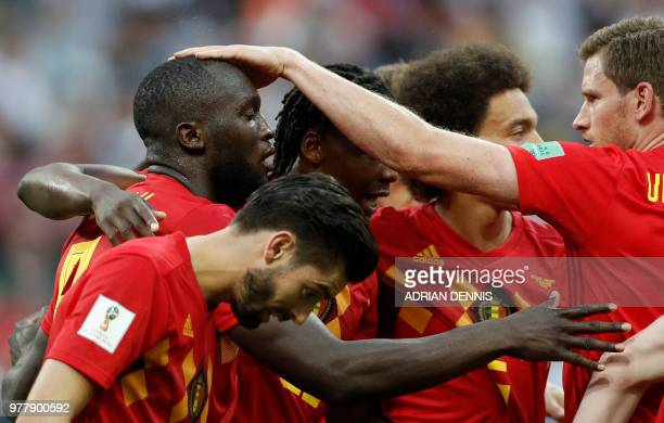 Belgium's forward Romelu Lukaku celebrates with teammates after scoring a goal during the Russia 2018 World Cup Group G football match between...