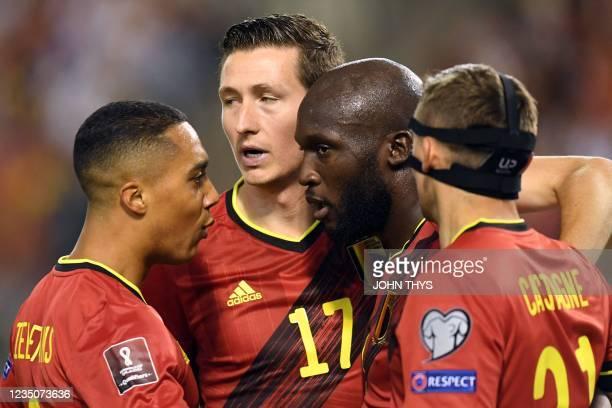 Belgium's forward Romelu Lukaku celebrates with teammates after scoring during the FIFA World Cup Qatar 2022 qualifying round Group E football match...