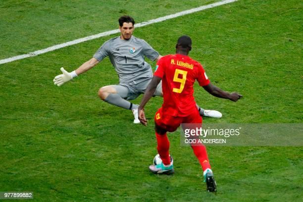 TOPSHOT Belgium's forward Romelu Lukaku is faced by Panama's goalkeeper Jaime Penedo during the Russia 2018 World Cup Group G football match between...