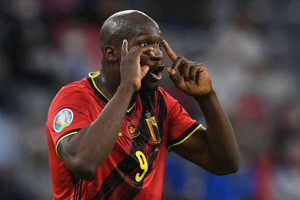 Belgium's forward Romelu Lukaku reacts during the UEFA EURO 2020 quarter-final football match between Belgium and Italy at the Allianz Arena in...
