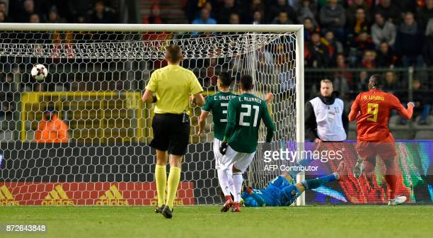 Belgium's forward Romelu Lukaku scores a goal during the international friendly football match between Belgium and Mexico at the King Baudouin...