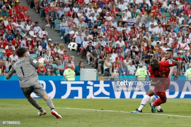 TOPSHOT Belgium's forward Romelu Lukaku scores a goal during the Russia 2018 World Cup Group G football match between Belgium and Panama at the Fisht...