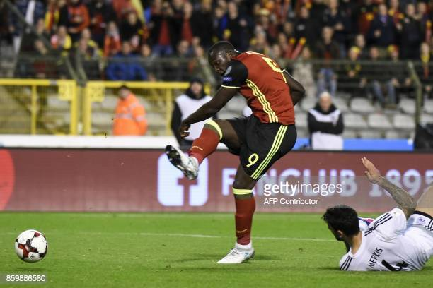 Belgium's forward Romelu Lukaku scores during the FIFA World Cup 2018 qualification football match between Belgium and Cyprus at the King Baudouin...