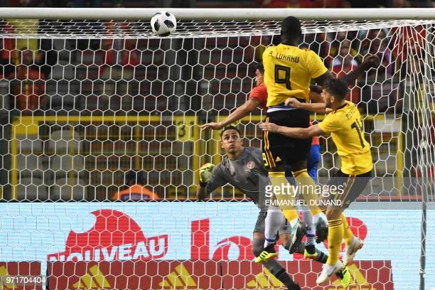 Belgium's forward Romelu Lukaku shoots and scores a goal during the international friendly football match between Belgium and Costa Rica at the King...