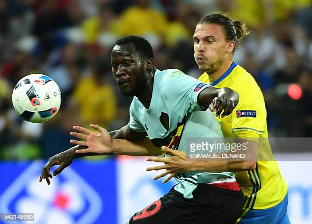 Belgium's forward Romelu Lukaku vies with Sweden's defender Erik Johansson during the Euro 2016 group E football match between Sweden and Belgium at...