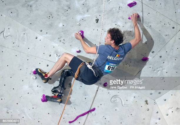 Belgium's Frederik Leys in the final of the Mens AL2 climb during the IFSC Climbing World Cup at the Edinburgh International Climbing Arena