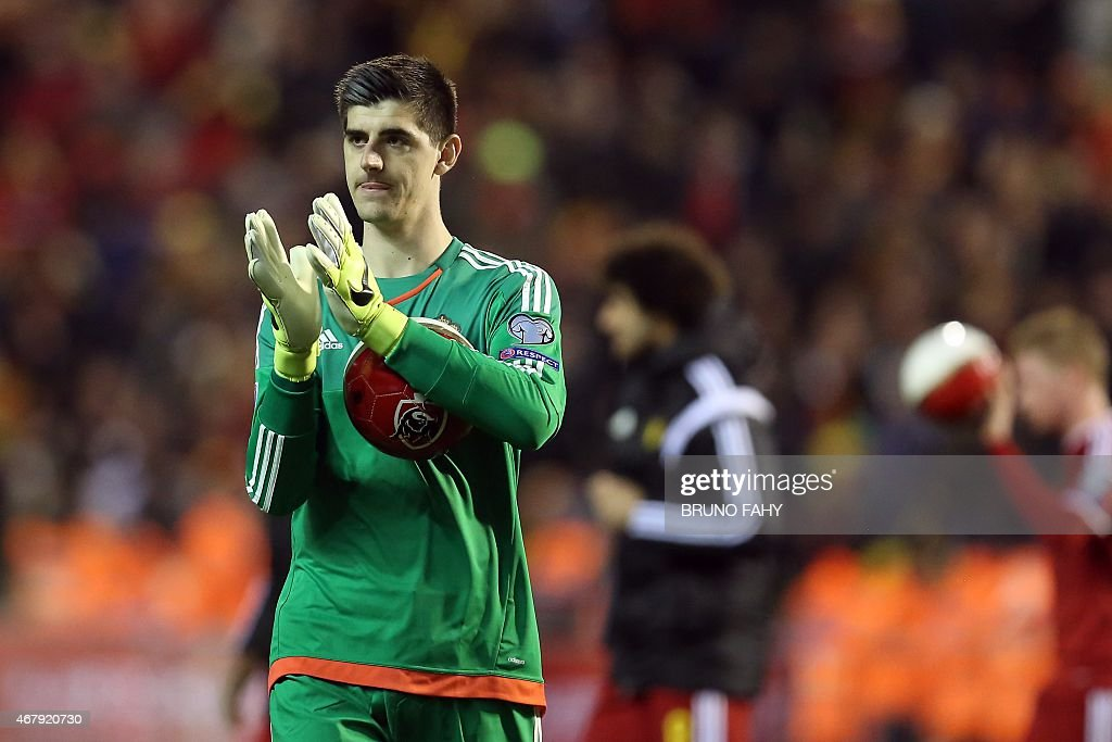 Belgium's goalkeeper Thibaut Courtois celebrates after the Euro 2016 qualifying round football match between Belgium and Cyprus at the King Baudouin stadium in Brussels on March 28, 2015.