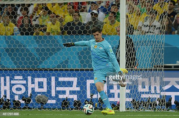 Belgium's goalkeeper Thibaut Courtois in action during the 2014 FIFA World Cup group H soccer match between South Korea and Belgium at the Arena de...