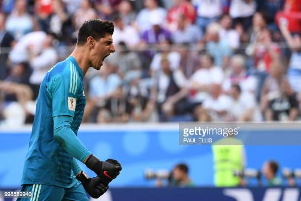 TOPSHOT Belgium's goalkeeper Thibaut Courtois reacts after Belgium's forward Eden Hazard scored during their Russia 2018 World Cup playoff for third...