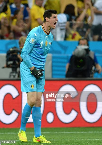 Belgium's goalkeeper Thibaut Courtois reacts during the 2014 FIFA World Cup group H soccer match between South Korea and Belgium at the Arena de Sao...