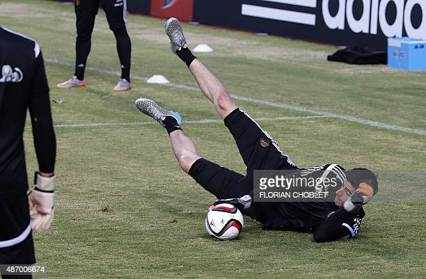 Belgium's goalkeeper Thibaut Courtois takes part in a training session at the GSP stadium in the Cypriot capital Nicosia on September 5 on the eve of...