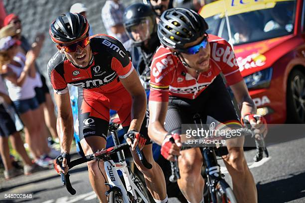 Belgium's Greg Van Avermaet and Belgium's Thomas De Gendt climb in a breakaway during the 216 km fifth stage of the 103rd edition of the Tour de...