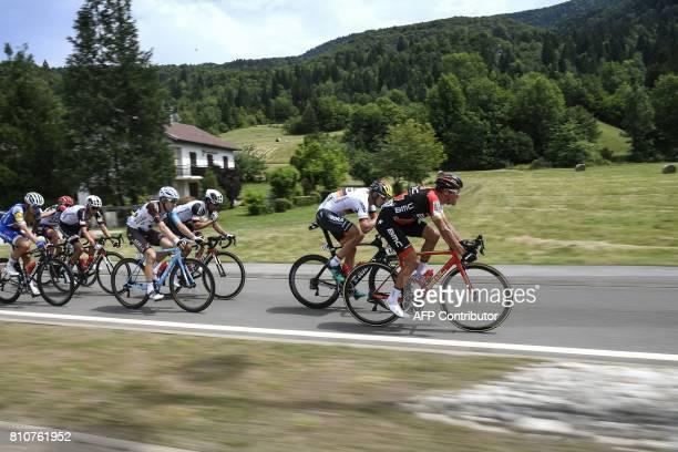 Belgium's Greg Van Avermaet Germany's Marcus Burghardt Australia's Michael Matthews Belgium's Jan Bakelants and France's Warren Barguil ride in a...