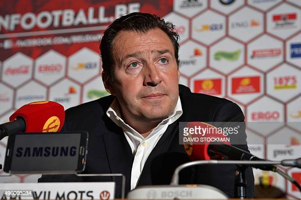 Belgium's head coach Marc Wilmots looks on during a press conference to announce the selection of the Red Devils the Belgian national football team...
